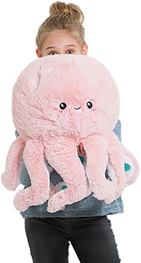 Model with a pink Octopus Squishable.